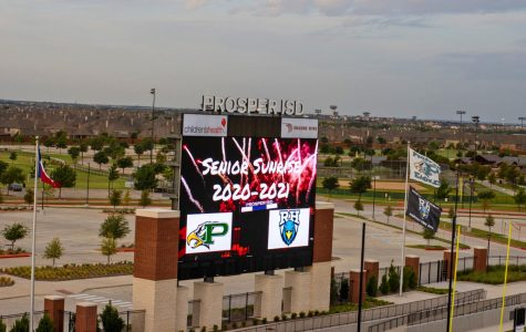 The endzone screen at the PISD Children's Health Stadium displays a sign celebrating the annual senior sunrise event. Seniors gathered early in the morning on Aug. 11 to watch the sunrise and start of the school year.