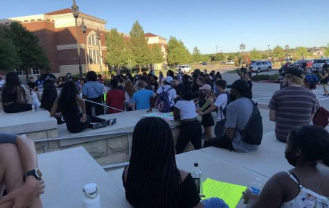 To protest for the Black Lives Matter movement, Prosper community members stop in front of Prosper High School. This protest happened on June 10, and the protestors can be seen wearing masks due to COVID-19. This protest was 11 days after George Floyd's death on May 25, 2020. In the attached article, columnist Alyssa Clark challenges readers to continue to use the power of their First Amendment rights on social media.
