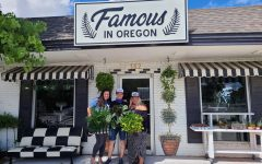 The Famous In Oregon plant and hat shop brightens up the corner of West Broadway where Maggie's boutique used to be. Tanner and Erika Mitchell stand beneath the Famous In Oregon sign with their partner Bekah Hardick. Famous In Oregon opened for the first time on May 9, 2020.