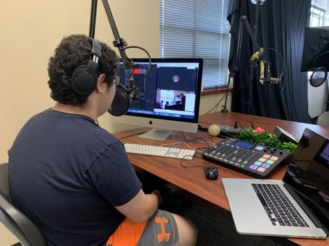 "Sitting at a computer recording with guest Ireland Holman who lives in Atlanta, Georgia, reporter Rusty Joe Gonzales covers the Netflix original series ""Stranger Things,"" along with other topics surrounding Holman"