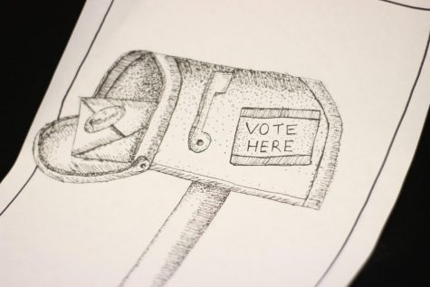 An illustration created by graphic designer Mark Chrissan depicts a voting sticker on a mailbox. COVID-19 has caused many citizens to stay at home instead of voting in-person this year. According to the attached ENO Staff-endorsed editorial,