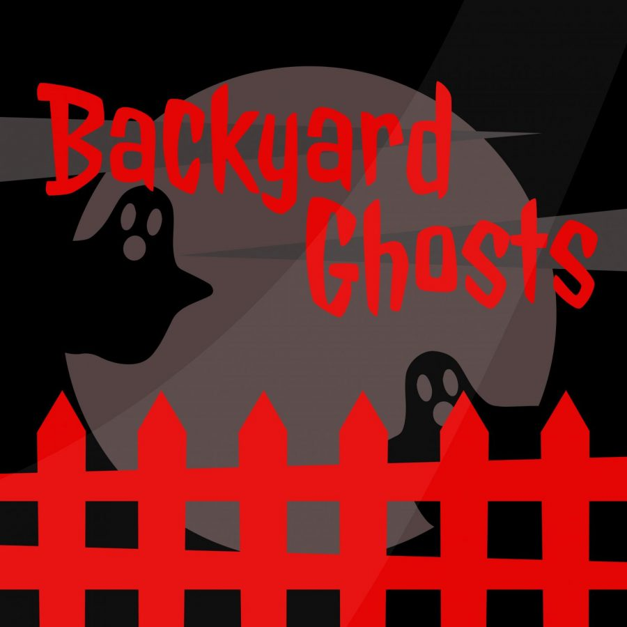 In the image above, ghosts linger behind a red backyard fence.
