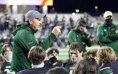 After a tough 24-23 defeat, head football coach Brandon Schmidt talks to his team. Ranked No. 5 in the state, Denton Guyer, which played Prosper Friday, Oct. 30, has gone 4-1 this season. Prosper lost  in the last two seconds of the game as Denton Guyer made a buzzer-beating touchdown.