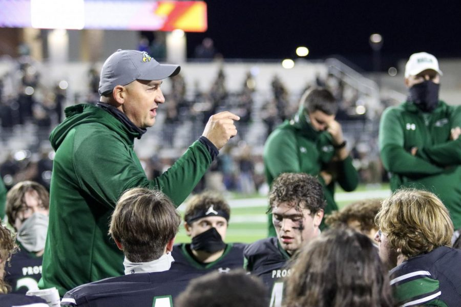 After+a+tough+24-23+defeat%2C+head+football+coach+Brandon+Schmidt+talks+to+his+team.+Ranked+No.+5+in+the+state%2C+Denton+Guyer%2C+which+played+Prosper+Friday%2C+Oct.+30%2C+has+gone+4-1+this+season.+Prosper+lost++in+the+last+two+seconds+of+the+game+as+Denton+Guyer+made+a+buzzer-beating+touchdown.+
