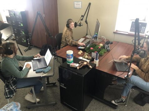 Maddie Moats, Christi Norris and Caroline Wilburn record episode two of the Best of SNO winning podcast,