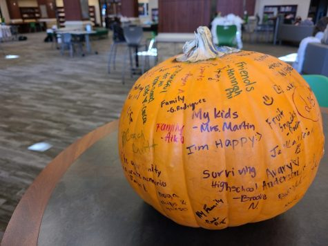 Greeting students that enter the Nest, the annual Hope Squad pumpkin shows off student signatures. The pumpkin is used for students to express what they are grateful for this year. Thanksgiving break will start Nov. 23, and school will return Nov. 30.