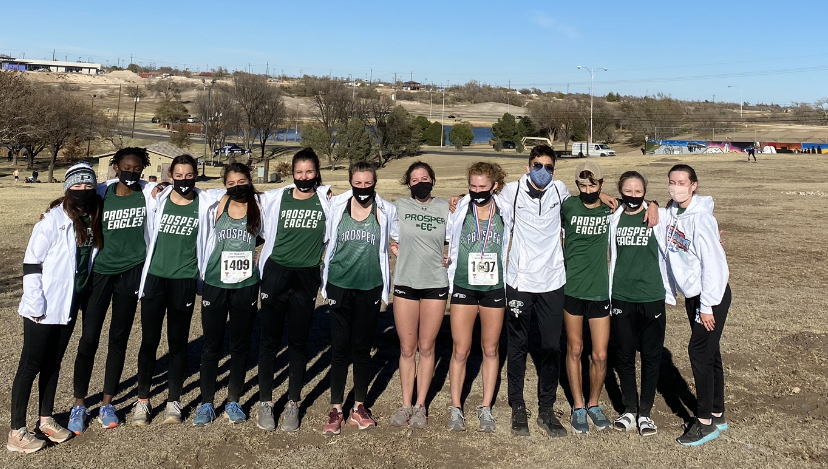 """Lining up, the cross country team takes on the region competition, held in Lubbock, Texas. In order to advance to region, a team must finish top two in their district. """"We ran very well, especially with how tough the course had steep hills, wind, dirt blowing in our face and thick grass,"""" junior runner Ava Kirkendall said. """"I"""