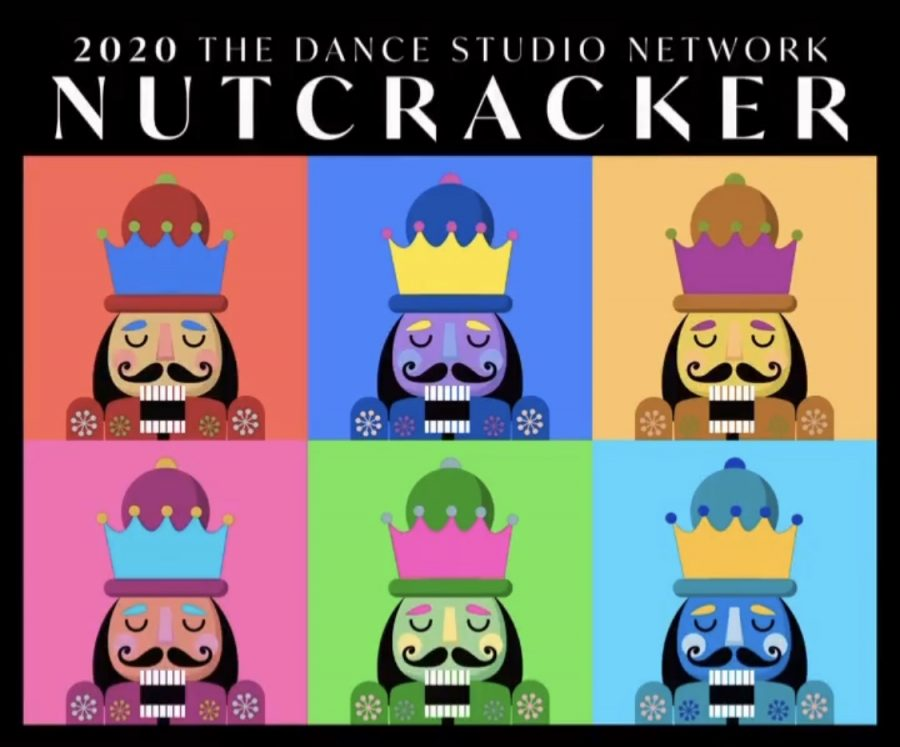 """This design, inspired by pop artist Andy Warhol, is the logo for the performance this year. The multi-colored boxes are intended to represent a Zoom call, along with the diverse audience that the dancers will be able to perform to with the show being pre-recorded. """"The Nutcracker"""" will be recorded this weekend starting Dec. 4."""
