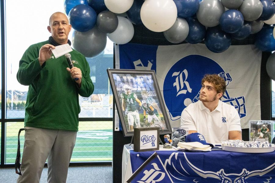 Eyes fixed on his coach, senior Aidan Siano listens to the words being spoken by Prosper football head coach Brandon Schmidt. Siano will be majoring in sports management while playing football at Rice University in Houston.