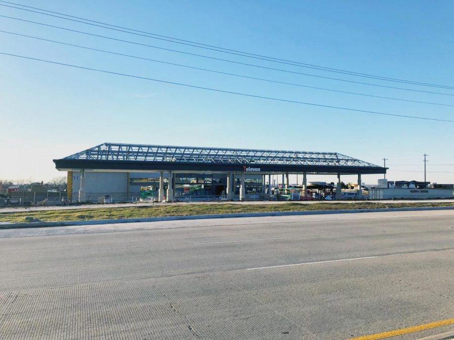 "Against a bright blue sky, the new 7-Eleven on West Frontier Pkwy is being built. The construction is just one of the ongoing projects seen all around Prosper. ""Gas stations are very convenient when you"