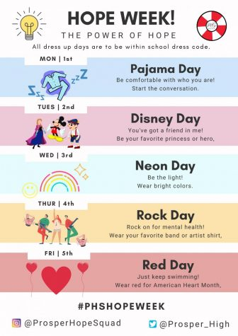 Hope Squad has organized Hope Week Feb. 1-5. Dress up days are encouraged for students to participate in.  The final day will be Red Day to support American Heart Month.