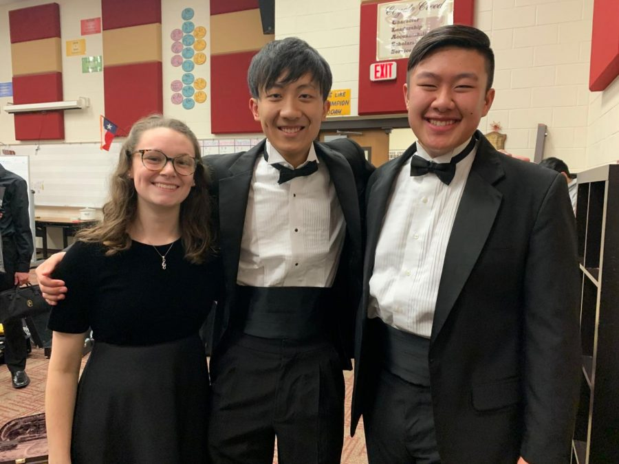 After an All-Region concert, pre-COVID-19, 2020 graduate Maddi Weaver, 2020 Frisco graduate Joseph Cui, and sophomore Devin Pham gather for a picture. At the time, this marked Pham's third year in All-Region band.  Now, he has qualified for a fourth straight time.