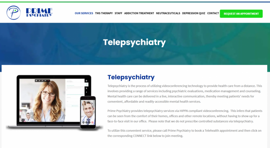 A screenshot shows the webpage of Prime Psychiatry's new feature, Telepsychiatry.  Telepsychiatry is a form of telehealth that allows psychiatrists to video call with patients.  Prosper ISD has partnered with Children's Health to bring telehealth to district students.
