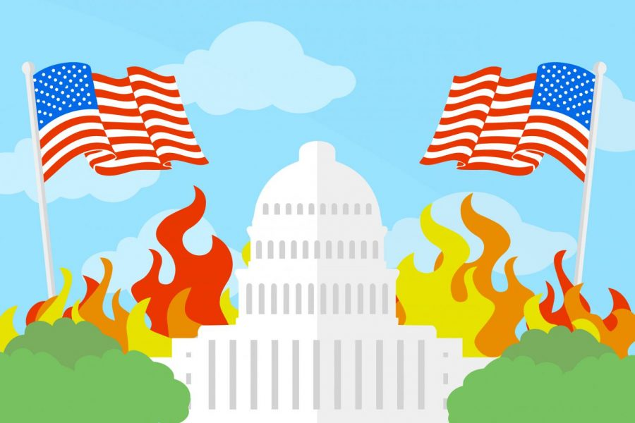 "In a graphic made by designer and senior Mark Chrissan, the U.S. Capitol building is surrounded by symbolic fire and American flags. Early Wednesday afternoon, Jan. 6, a group of supporters of President Donald Trump seized the Capitol while Congress met to certify the electoral college votes. ""They should know right from wrong,"" junior Caleb Audia said. ""People who trespassed and went inside should be charged accordingly."""