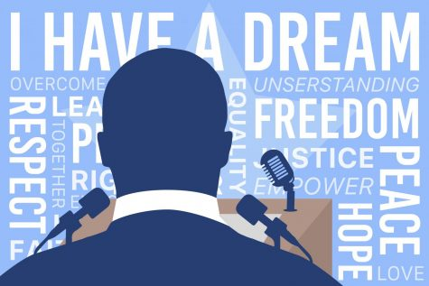 In an image created by graphic designer and senior Mark Chrissan, the silhouette of Martin Luther King Jr. stands before a podium surrounded by words that represent his campaign of activism. In the attached piece, Editor-in-Chief and columnist Grace Williamson challenges readers and activists against discrimination to remember the words of Martin Luther King Jr.