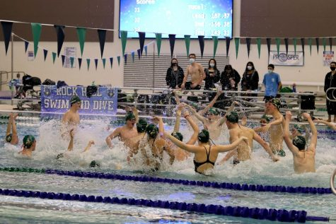 "Before their meet, senior swimmers lead the team in a ""pep-splash"" to bring up excitement. While Prosper High School is a 6A school, Rock Hill is a 5A school. Despite the team"