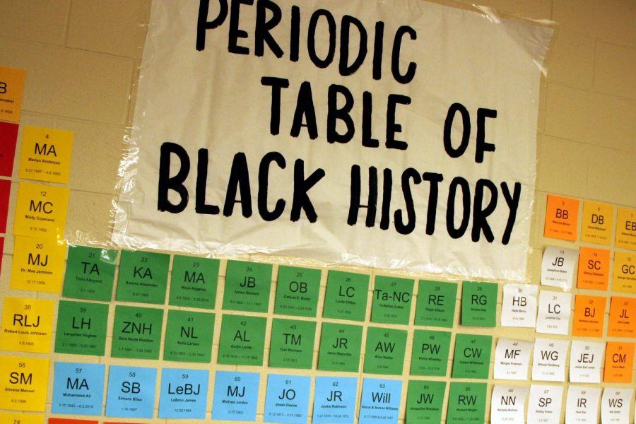 "As it hangs in the science hallway, the Periodic Table of Black History displays the name of famous African Americans, past and present. February is Black History Month. ""Specifically to our Black students, you are loved,"