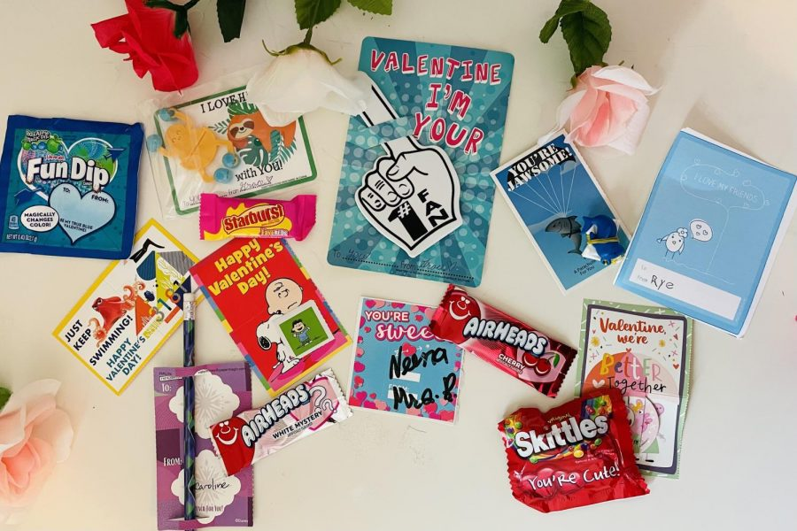 After a Valentine's Day party for the Eagle Nation Online staff, candy and cards lay out on a desk. The staff does an elementary-school-style valentines exchange to preserve fun traditions.