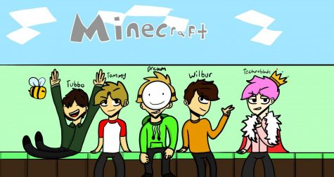 A digital drawing by sophomore Angelie Paradiang, whose art instagram is @pinkcaftdraws, depicts five of the current top Minecraft youtubers. Tubbo, Tommy,  Dream, Wilbur, and Technoblade. These youtubers all play on the Survival Multiplayer Server called the