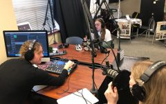 Running a soundcheck, seniors Caroline Wilburn, Maddie Moats and junior Christi Norris prepare to discuss Jane Bolin for this episode of