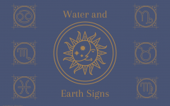 The graphic illustrates the different representative symbols for the water and earth signs. Junior Morgan Reese and sophomore Gianna Galante discuss astrological compatibility and descriptions of each sign on their podcast