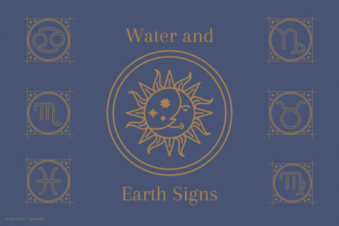 "The graphic illustrates the different representative symbols for the water and earth signs. Junior Morgan Reese and sophomore Gianna Galante discuss astrological compatibility and descriptions of each sign on their podcast ""Astro Hour."" Water and earth signs tend to be most compatible with one another, as well as fire and air signs."