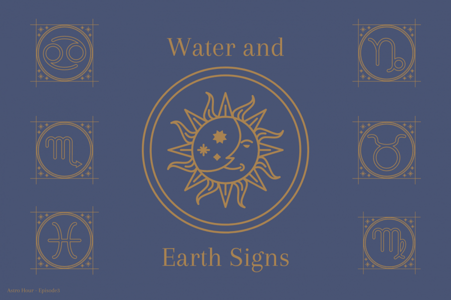 The+graphic+illustrates+the+different+representative+symbols+for+the+water+and+earth+signs.+Junior+Morgan+Reese+and+sophomore+Gianna+Galante+discuss+astrological+compatibility+and+descriptions+of+each+sign+on+their+podcast+%22Astro+Hour.%22+Water+and+earth+signs+tend+to+be+most+compatible+with+one+another%2C+as+well+as+fire+and+air+signs.+