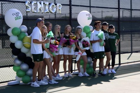 After each of their names were announced, all of the varsity tennis seniors stand together. The Senior Night celebration was held at the Prosper High School Tennis Courts Monday, March 29. The team faced McKinney Boyd High School.