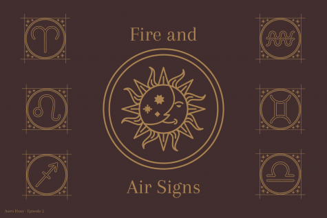 "A graphic made by sophomore Gianna Galante illustrates the different representative symbols for the fire and air signs. Junior Morgan Reese and Galante discuss astrological compatibility and descriptions of each sign on their podcast ""Astro Hour."" Fire and air signs tend to be most compatible with one another, as well as water and earth signs."