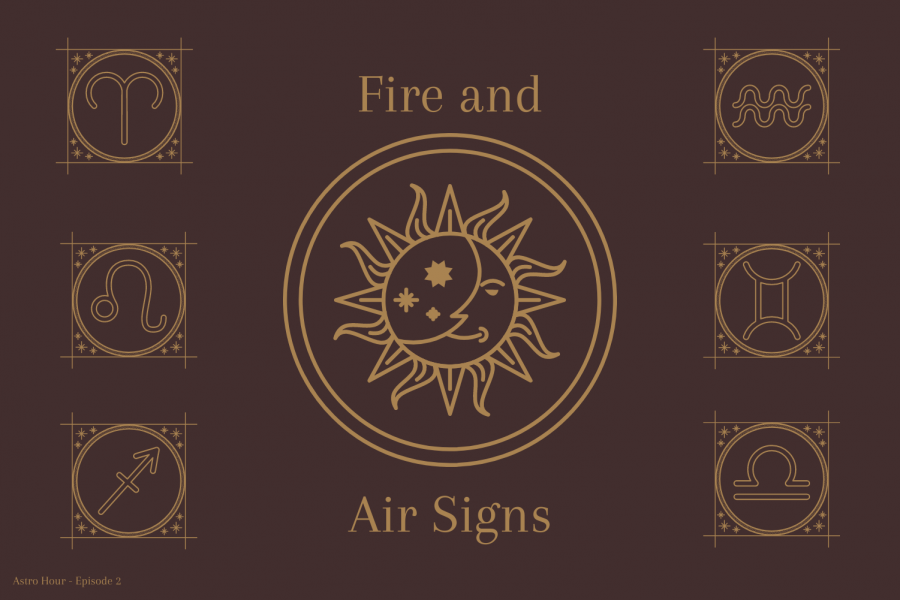 A+graphic+made+by+sophomore+Gianna+Galante+illustrates+the+different+representative+symbols+for+the+fire+and+air+signs.+Junior+Morgan+Reese+and+Galante+discuss+astrological+compatibility+and+descriptions+of+each+sign+on+their+podcast+%22Astro+Hour.%22+Fire+and+air+signs+tend+to+be+most+compatible+with+one+another%2C+as+well+as+water+and+earth+signs.+