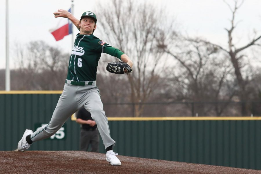 As he steps off the mound, Lucas Davenport  pitches the ball. Davenport, a junior, has committed to continue his baseball career at Texas A&M University in the fall of 2022. The varsity baseball team will play their next game at Little Elm High school on Tuesday, March 16 at 7:30 p.m.