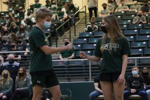 "At the spring Meet the Eagles, senior twins Sydney and James Duvall give each other a fist bump as their names were announced. Both have competed in powerlifting for all four years. ""Sydney and James have a very unique relationship,"" Coach Brian Thompson said. ""They can be at complete dismay and upset with each other, and at other times, they get along great. I've had to make them stop arguing with each other several times and get on to them like a parent. However the one thing that never changes is the support they have for each other."""