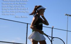 A quote from senior Haley Britton is shown over an image of her on the court. This is Britton's third year on varsity. She currently plays doubles with senior Lauren Hallauer.