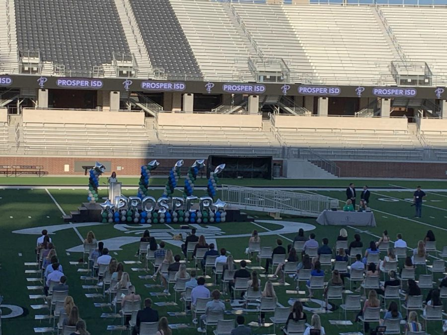 Opening the Prosper Education Foundation ceremony, executive director Elizabeth Johnston speaks to the seniors. This year, the scholarship awards ceremony was held at the PISD Children's Health Stadium due to COVID-19. The event took place May 7, and began at 7 p.m.