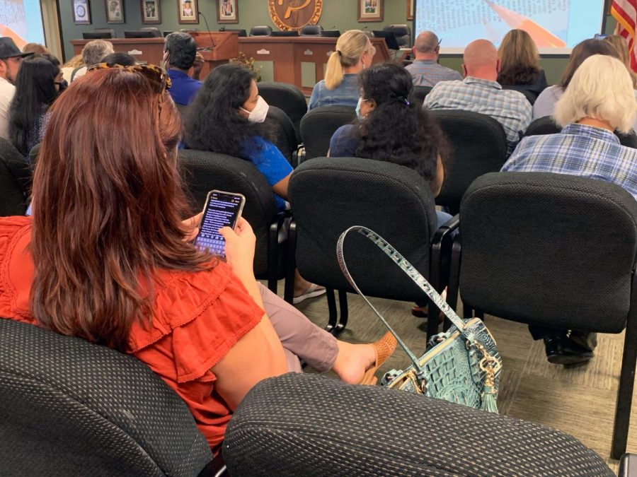 On the Notes app of her phone, Prosper resident Christine Chiappinelli prepares her speech for the school board meeting. Chiappinelli spoke out against a mask mandate. The board meeting occured Monday, Aug. 23, at 7 p.m. at the districts administration building.