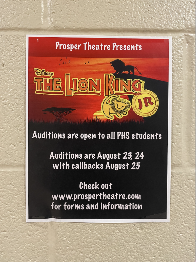 Directors of The Lion King Jr. musical and Kodachrome play will be holding auditions Aug. 23-24. The play will be performing on Oct. 14-16 in the Blackbox. The musical will also have three performance dates, Nov. 4-6. Visit prospertheatre.com for more information.