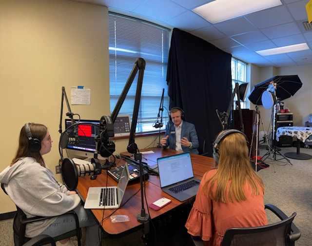 In the newsroom, seniors Morgan Reese and Amanda Hare interview the district attorney Jeff Crownover. In the interview  they discussed students First Amendment rights as well as Crownovers career journey. Two articles are attached with the contents of the interview.