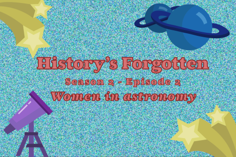 A graphic introduces episode two of season two of the Historys Forgotten podcast. Historys Forgotten is an award-winning podcast hosted by seniors Christi Norris, Caleb Audia and Amanda Hare. In this episode, they discussed women in astronomy.
