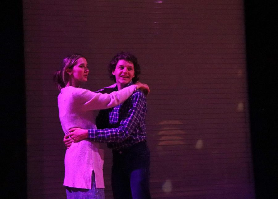 As they move below disco ball, juniors Madeleine Wentz and Cooper Smith slow dance during the show. Kodachrome, a production by the theatre department, will open on Oct. 14. The shows will take place in the Black Box.