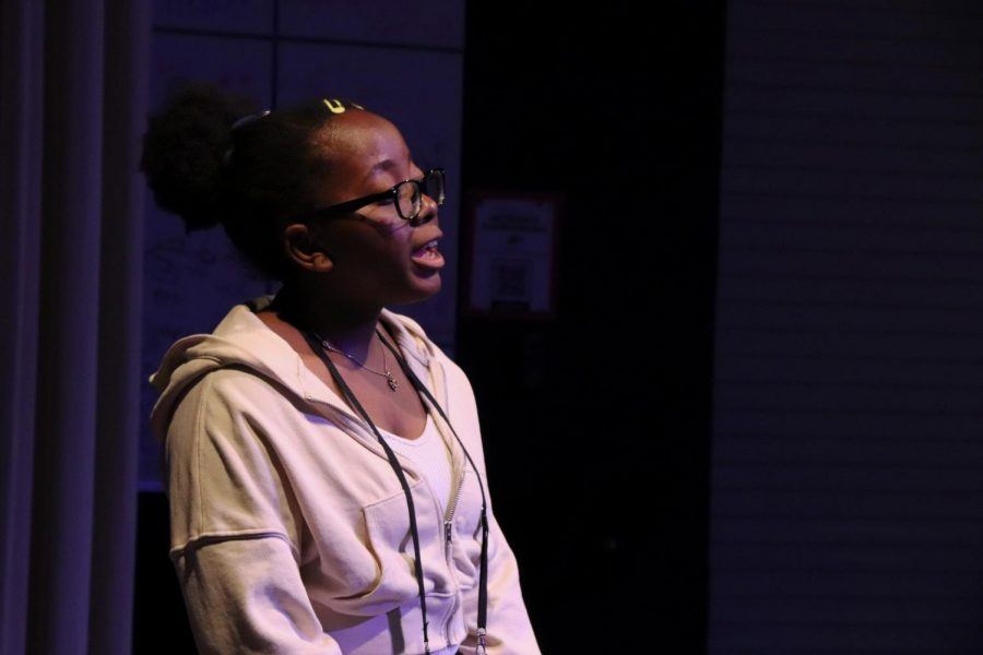 The Photographer, played by junior Seun Seriki, looks out to the crowd. If Seriki were to play any other role, she said she would want to play the Librarian. She also said she is most excited to perform a big role for the first time.