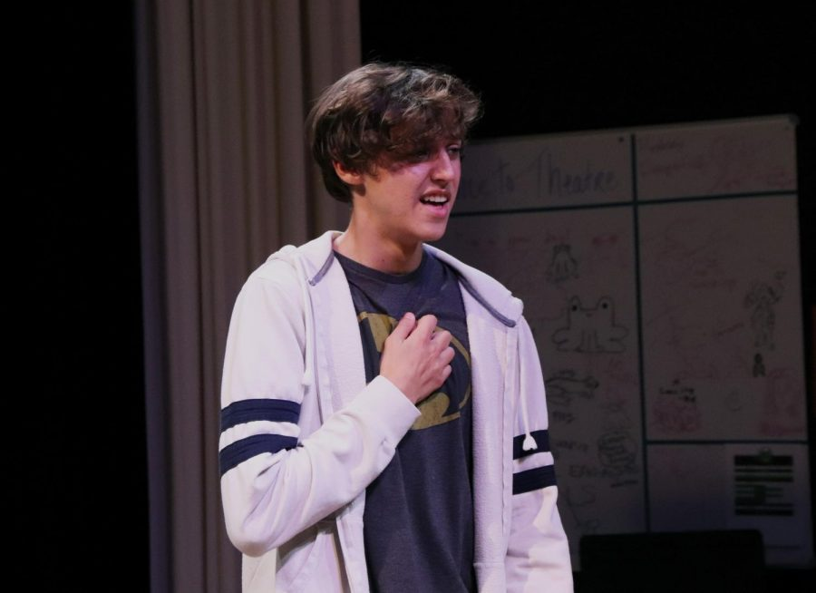 The Young Man, played by sophomore Titus Boyd, clutches his chest. Boyd said he is most good to participate in a big show. It's great we have a small cast so it makes rehearsals more personal and so much smoother, Boyd said.