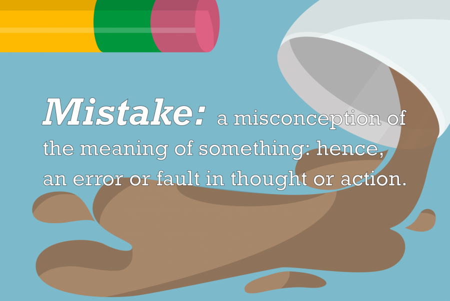 In a graphic created by executive design editor Julia Chung, the definition of mistake lies against a cup of coffee spilling. The definition of mistake was defined through the Oxford Dictionary.