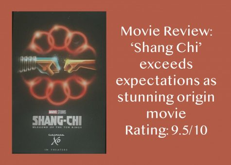 A picture of a Shang Chi poster sits next to a rating on the new movie. In the attached review, senior Amanda Hare discusses how much she enjoyed the movie. It was phenomenal, Hare said. Every element of the movie tied together to create a high-quality, stunning piece.
