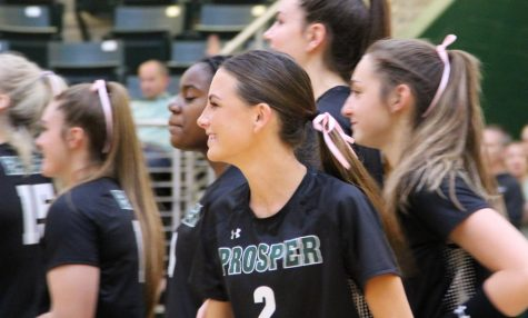 After her name is called, senior Hayley Harrington looks to the rest of her team. Harrington plays as a defensive specialist for the team. The team is currently 25-11 in their season, according to MaxPreps.