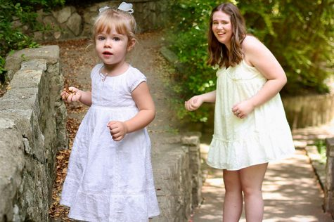 In a digital constructed image, two photos of photojournalist Morgan Reese from 2006 and 2021 sit side-by-side. Both photos were taken on the same bridge at Prather Park in Highland Park, Texas. Stacey Reese, Morgan Reeses mom, took both images 15 years apart.